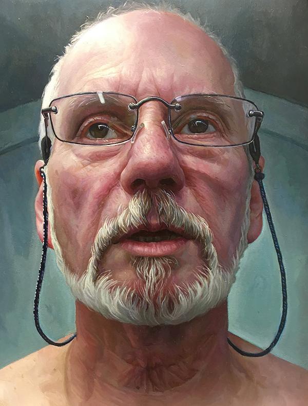 "Mark Giangaspero, Dave, Oil on canvas, 21.5"" x 18"" x 3"", 2020 Peoples Choice Award Winner"
