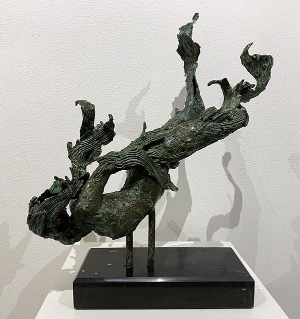 "Lisa Kenion, Sea Serpent, Bronze with marble, 22"" x 20"" x 12"", 2020 Peoples Choice Award Winner"